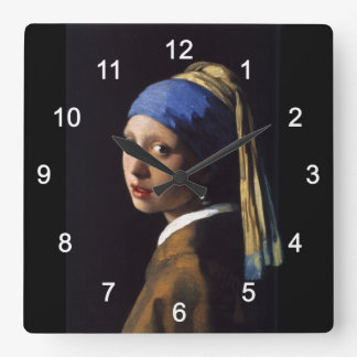 """Johannes Vermeer, """"Girl with a Pearl Earring"""" Square Wall Clock"""