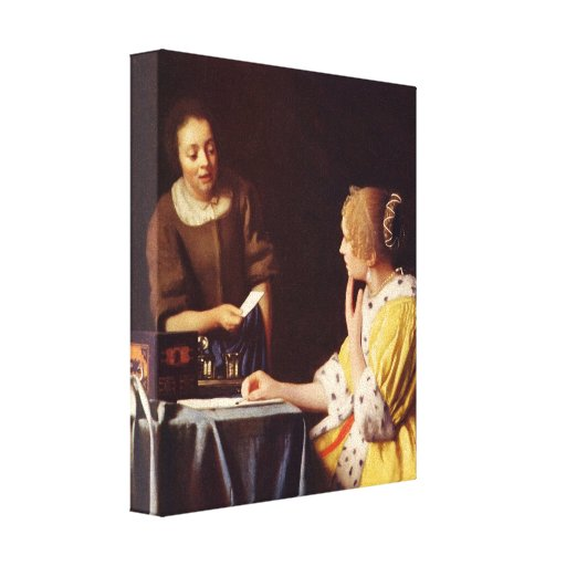 Johannes Vermeer - Mistress and maid Stretched Canvas Print