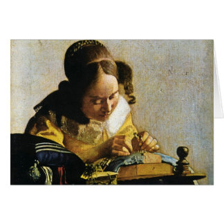 Johannes Vermeer s The Lacemaker circa 1670 Greeting Card