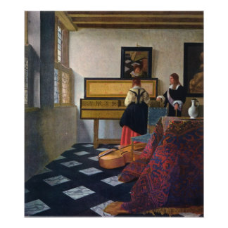 Johannes Vermeer s The Music Lesson circa1663 Poster