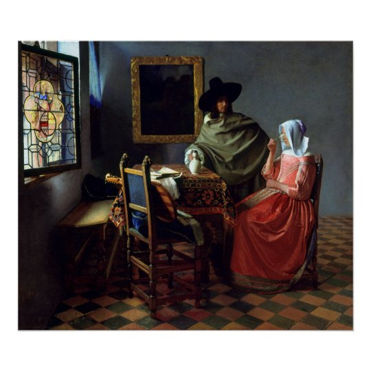 Johannes Vermeer The Wine Glass Poster