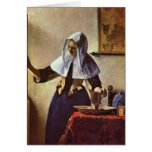 Johannes Vermeer - Young woman with a water jug at Greeting Card