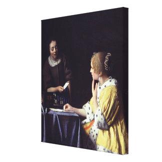Johannes Vermeer's Mistress and Maid (1666) Canvas Print
