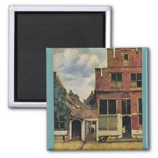Johannes Vermeer's Street in Delft (circa 1660) Square Magnet