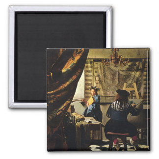Johannes Vermeer's The Art of Painting circa 1668 Square Magnet