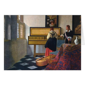 Johannes Vermeer's The Music Lesson (circa1663) Greeting Cards