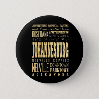 Johannesburg City of South Africa Typography Art 6 Cm Round Badge