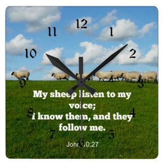 John 10:27 My sheep Square Wall Clock