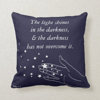 John 1:5 The Light Shines in The Darkness Cushion