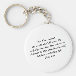 John 3:16 Bible Verse (KJV) Basic Round Button Key Ring