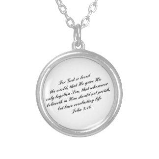John 3:16 Bible Verse (KJV) Silver Plated Necklace