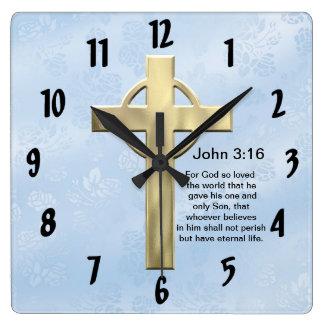 John 3:16 (blue) square wall clock