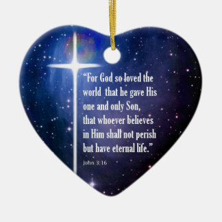 John 3:16 ceramic heart decoration