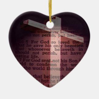 John 3:16 ceramic heart decoration