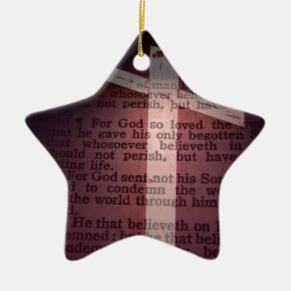 John 3:16 ceramic star decoration