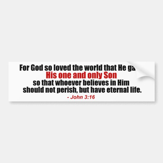 John 3:16 Christian Bumper Sticker