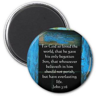 John 3:16 Christian Inspirational Quote 6 Cm Round Magnet
