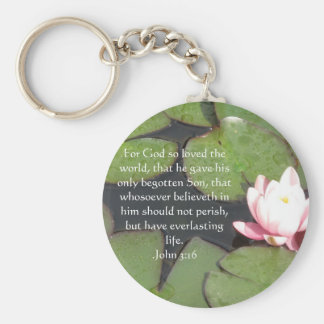 John 3:16 Christian Inspirational Quote Basic Round Button Key Ring