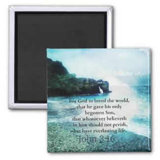 John 3:16 Christian Inspirational Quote Bible Square Magnet