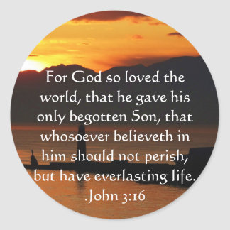 John 3:16 Christian Inspirational Quote Round Sticker