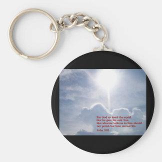John 3:16  Clouds Keychain