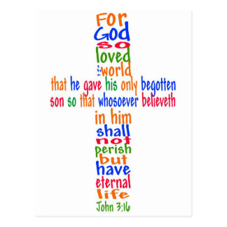 John 3:16 Cross Postcard