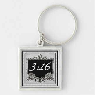 """John 3:16 """"For God so loved the world that..."""" Silver-Colored Square Key Ring"""