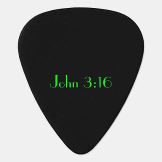 John 3:16, Green Text on Black Background Guitar Pick