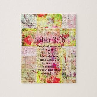 John 3:16  Inspirational Bible verse words art Jigsaw Puzzle