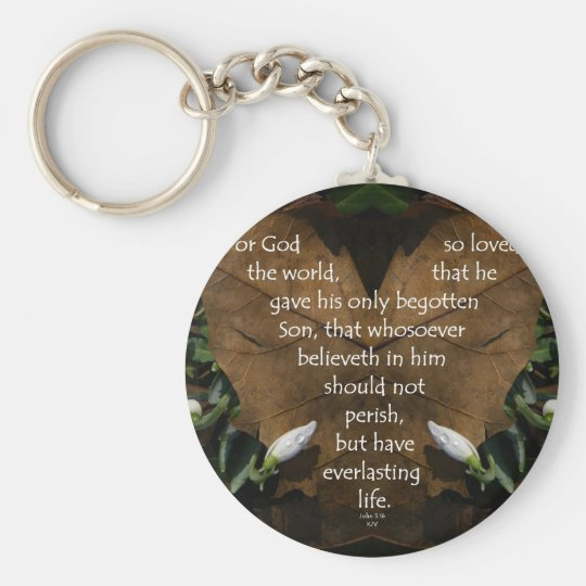 john 3:16 king james on heart leaf key