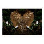 john 3:16 king james on heart leaf postcards