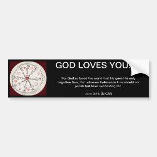 John 3:16 Mandala Bumper Stickers