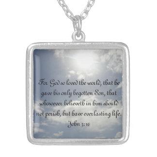 John 3:16 square pendant necklace