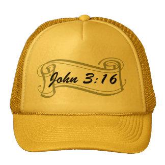 John 3:16 on stylized golden scroll hats