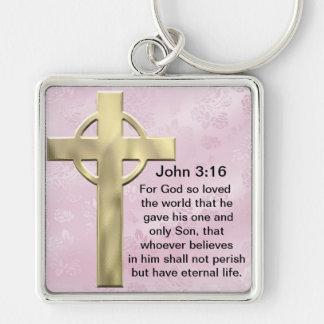 John 3:16 (pink) Silver-Colored square key ring