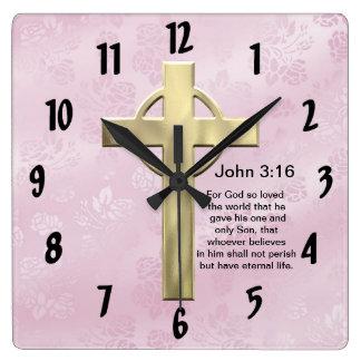 John 3:16 (pink) square wall clock