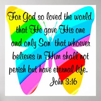 JOHN 3:16 RAINBOW BUTTERFLY POSTER