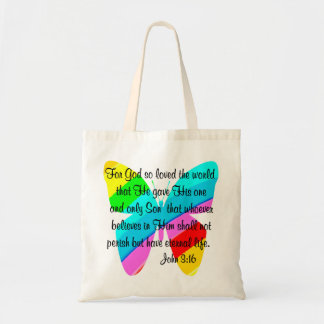 JOHN 3:16 RAINBOW BUTTERFLY TOTE BAG