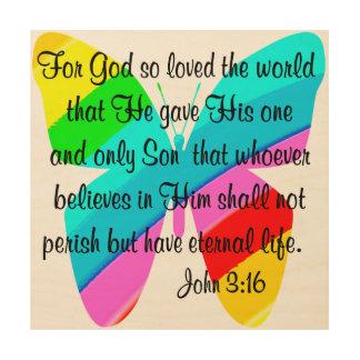 JOHN 3:16 RAINBOW BUTTERFLY WOOD PRINTS