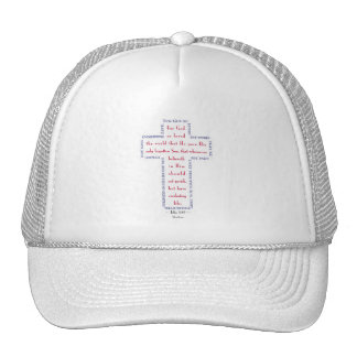 John 3:16 Red, White and Blue Cross Hats