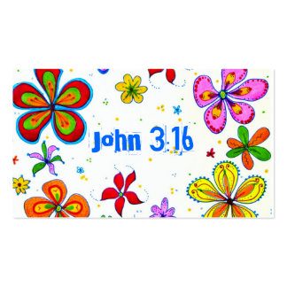 John 3:16 Scripture Memory Card, Bright Pack Of Standard Business Cards