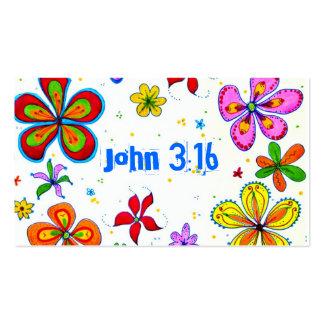 John 3:16 Scripture Memory Card, Bright Pack Of Standard Business Cards