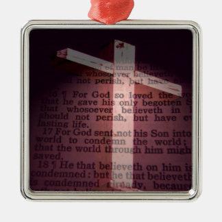 John 3:16 Silver-Colored square decoration