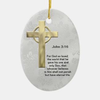 John 3:16 (white) christmas ornament