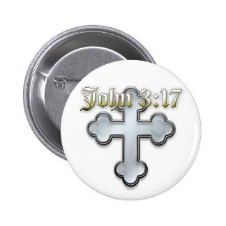 John 3:17 6 cm round badge