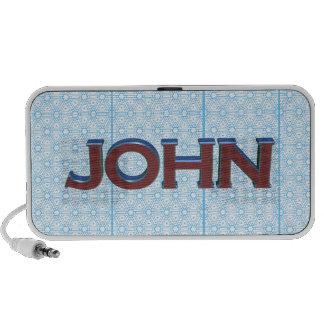 John 3D text graphic over light blue lace Mini Speakers