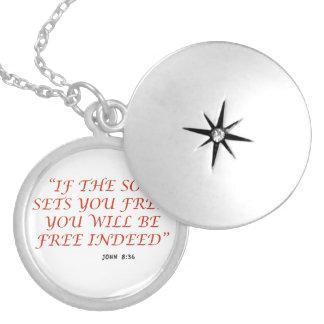 John 8 36 Bible verse scripture of faith 1029.02 Round Locket Necklace