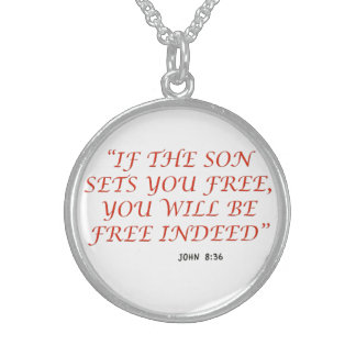 John 8 36 Bible verse scripture of faith 1029.02 Round Pendant Necklace