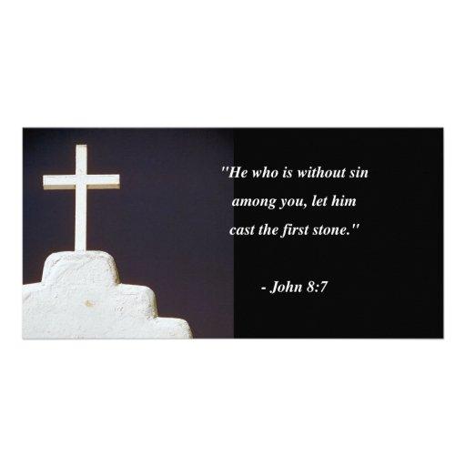 JOHN 8:7 Bible Verse Personalized Photo Card
