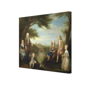 John and Elizabeth Jeffreys and their Children, 17 Canvas Print